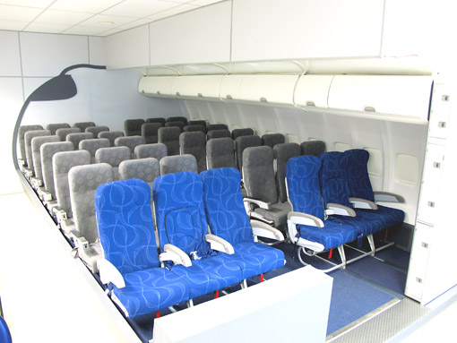 Replica do interior do avião